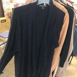Navy drape front ultra soft cardigan